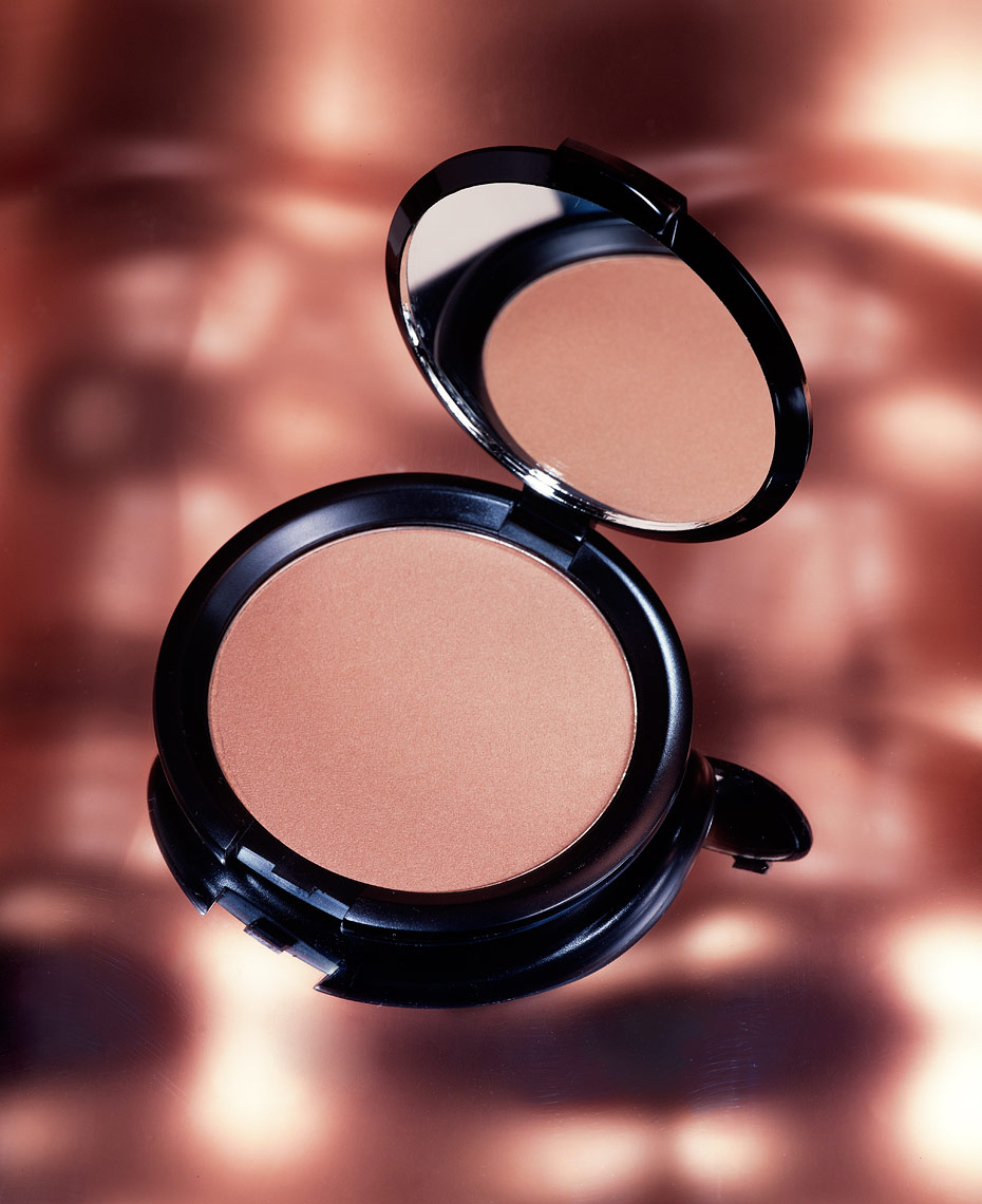 Cosmetics Still Life, Makeup Compact on Copper Background