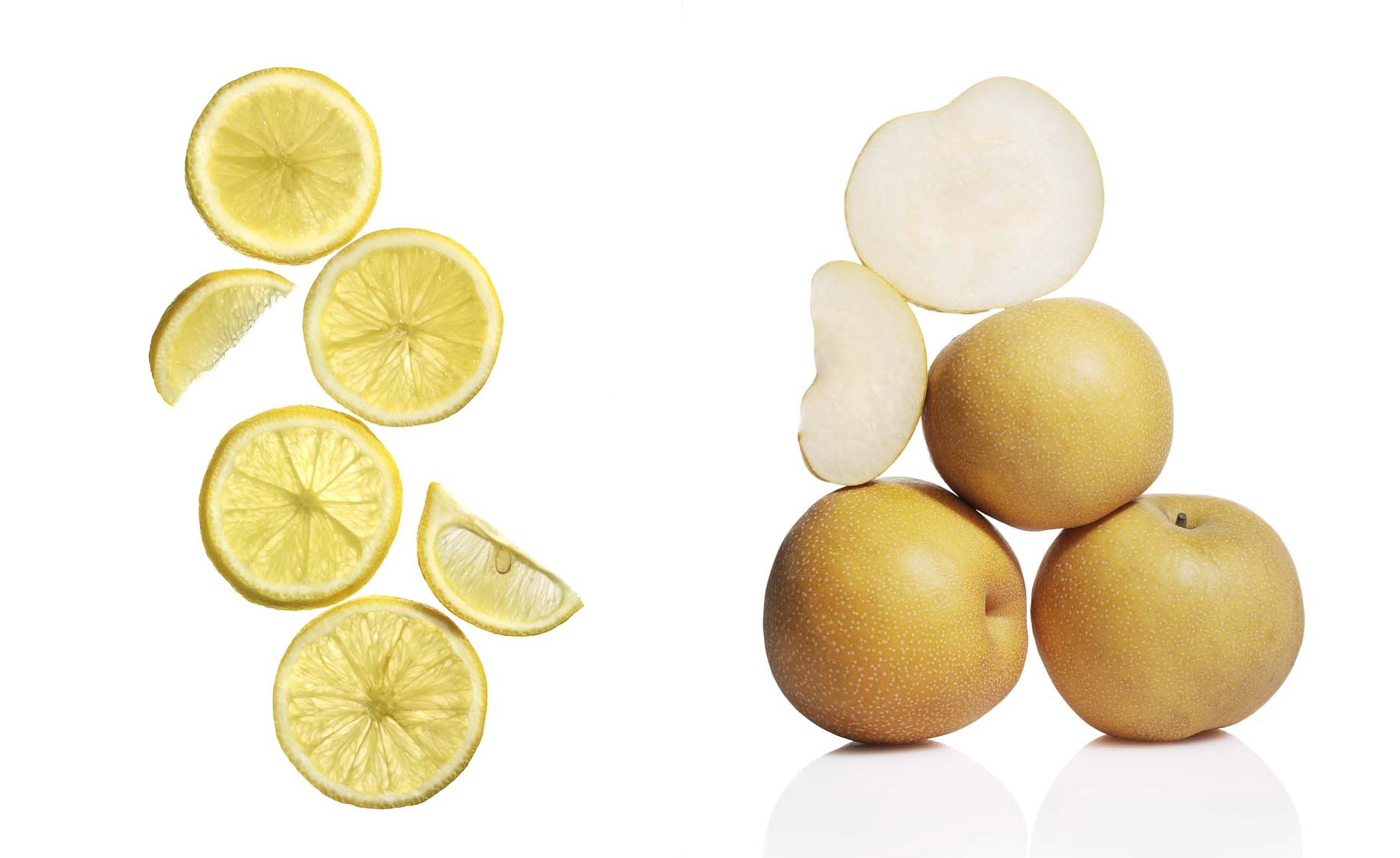 Food Still Life, Lemon Slices and Asian Pears