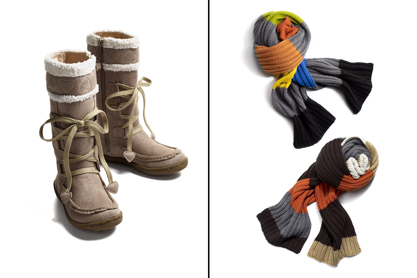 Apparel Still Life, Scarves and Winter Boots