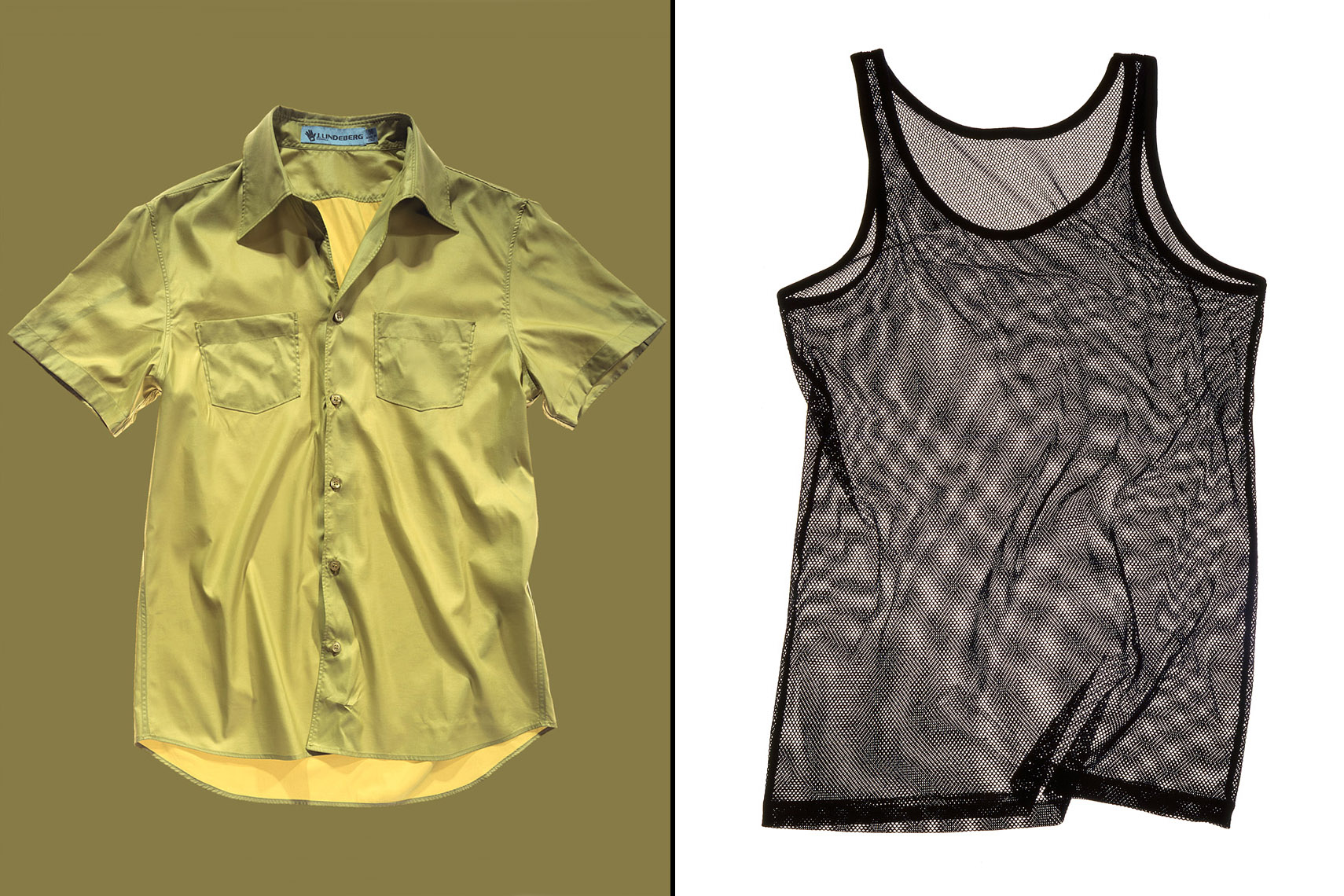 Apparel Still Life, Green Polo Shirt and Mesh Tank Top