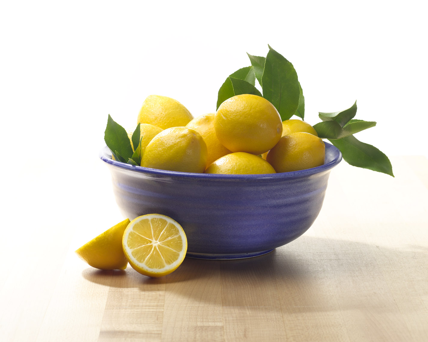 Food Still Life, Fresh Lemons in Blue Bowl