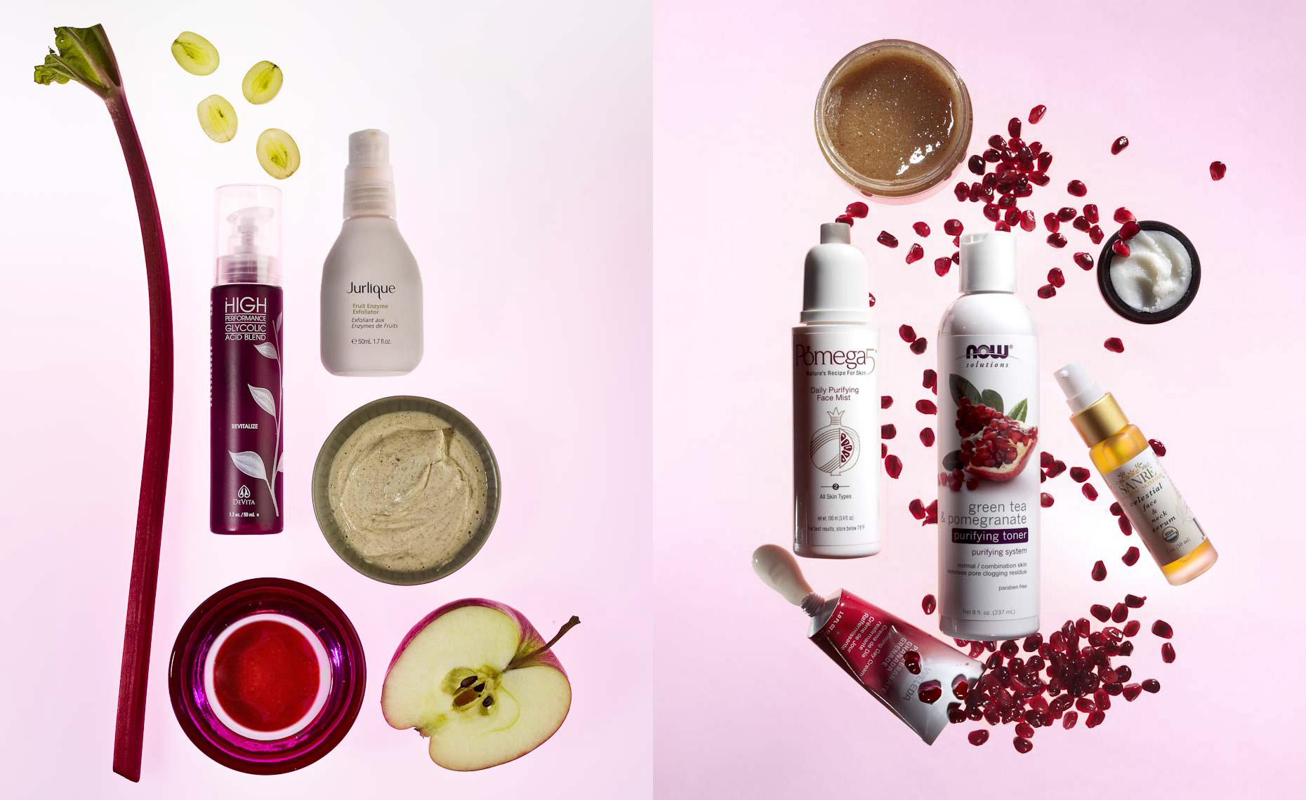 Cosmetics Still Life, Natural Beauty Products on Pink