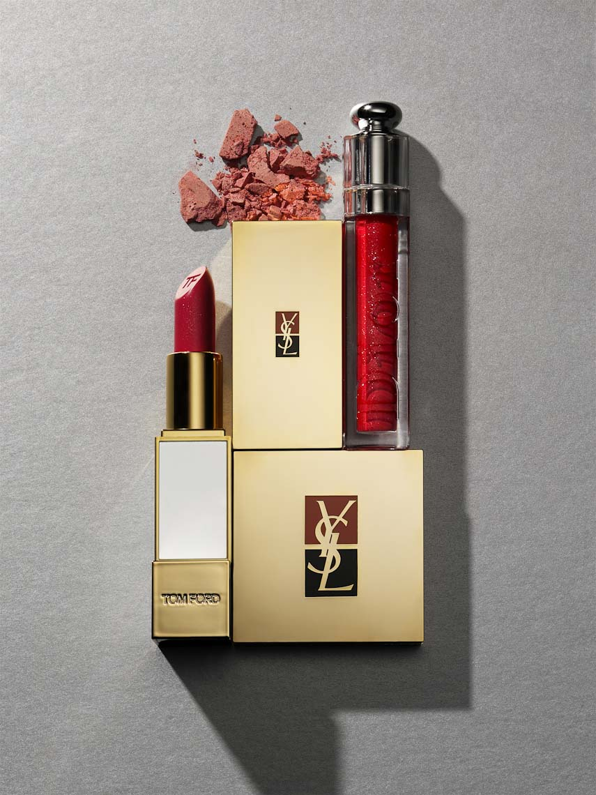 Cosmetics, Beauty Products by Yves Saint Laurent and Tom Ford on Gray - Mike Lorrig