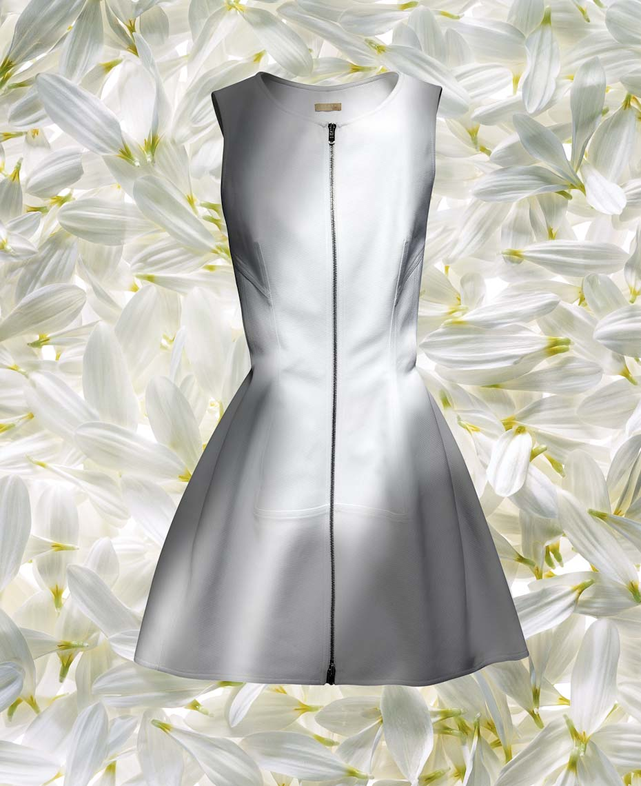 Apparel Still Life, White Alaia Dress On White Flower Petals