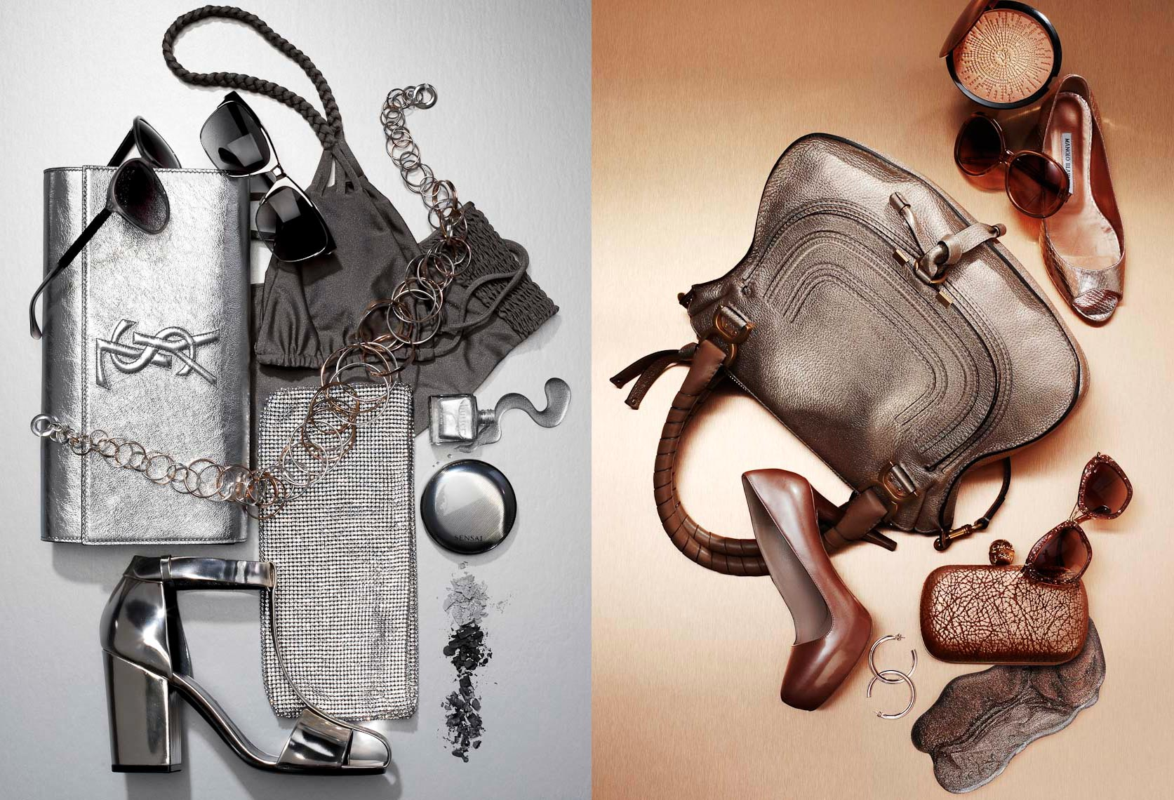 Accessories Still Life, silver and bronze fashion accessories
