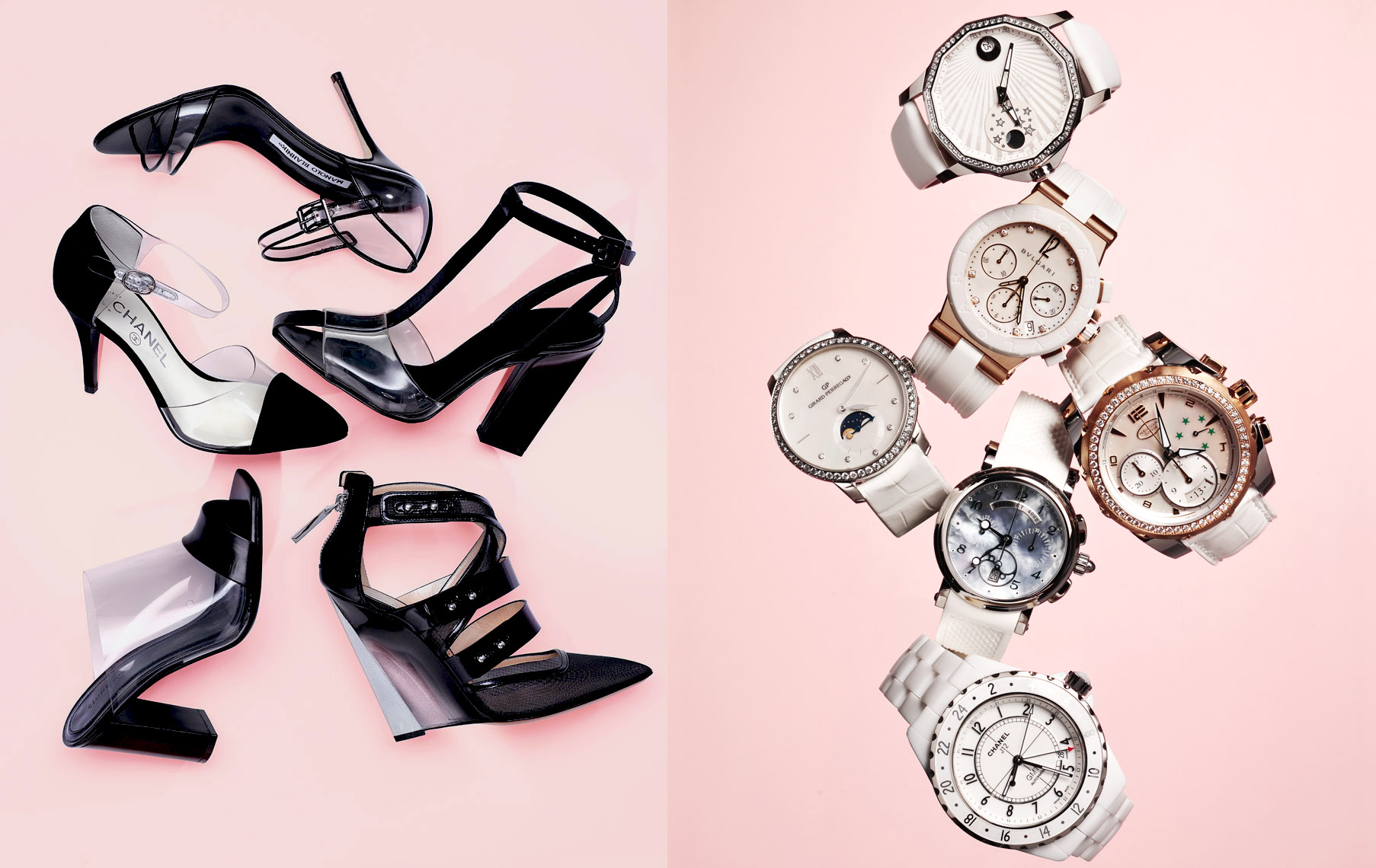 Accessories Still Life, Pumps and White Watches on Pink