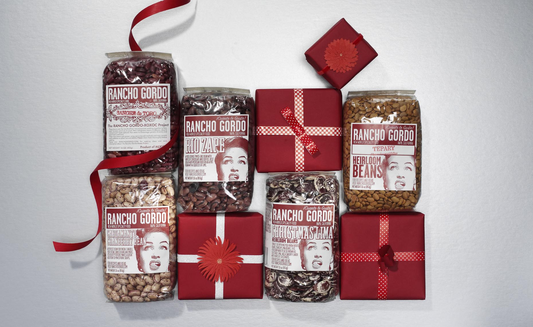 Product Still Life, Packaged Beans for the Holidays