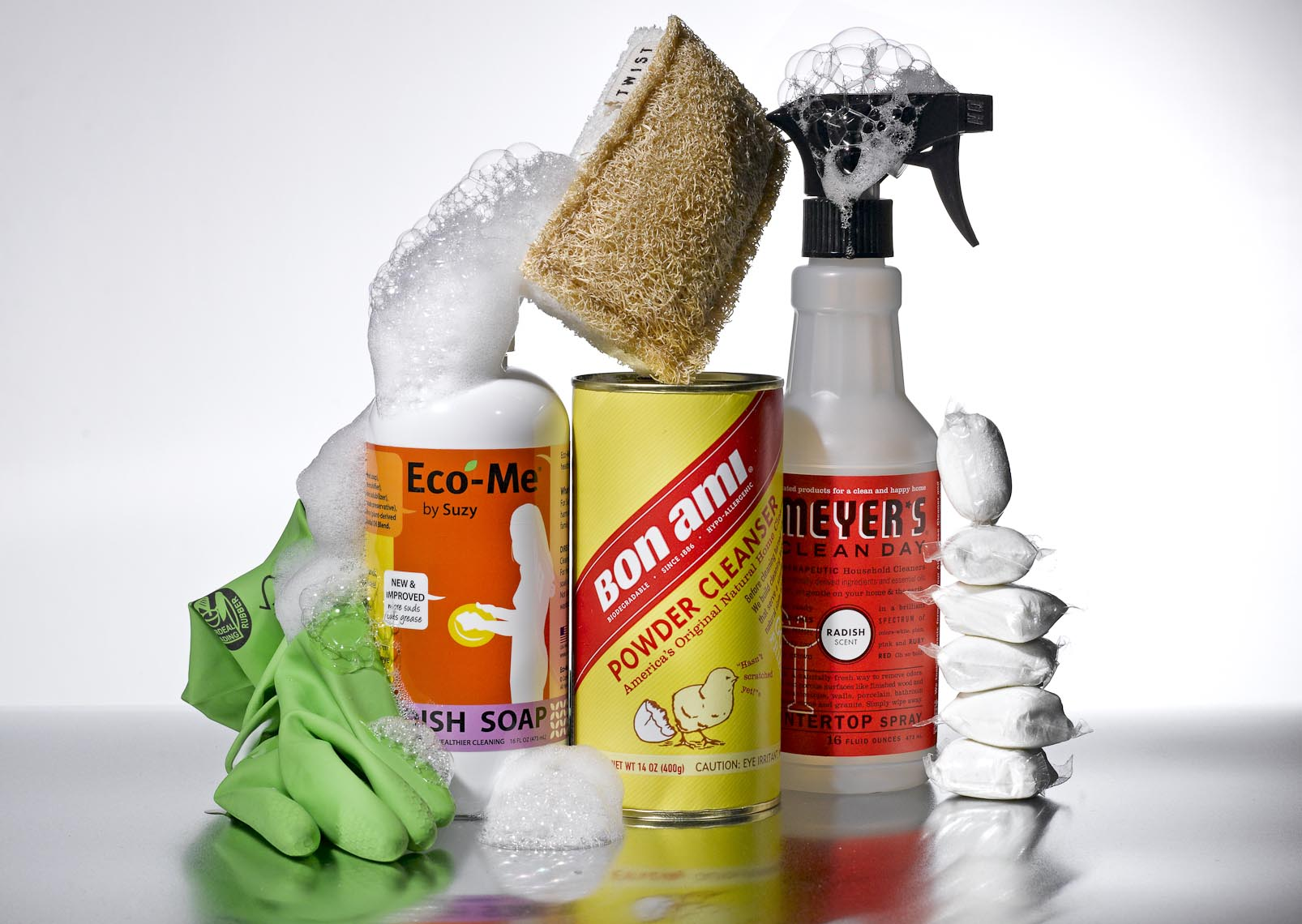 Product Still Life, Eco Friendly Cleaning Products