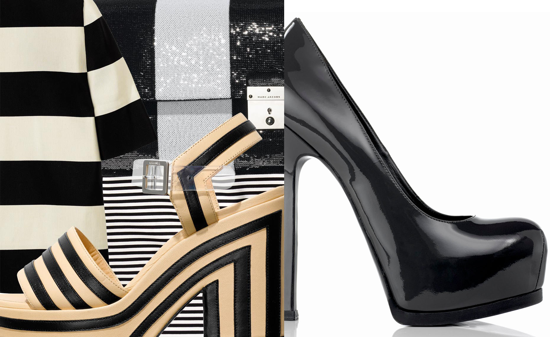 Accessories Still Life, Striped Plateau Pumps