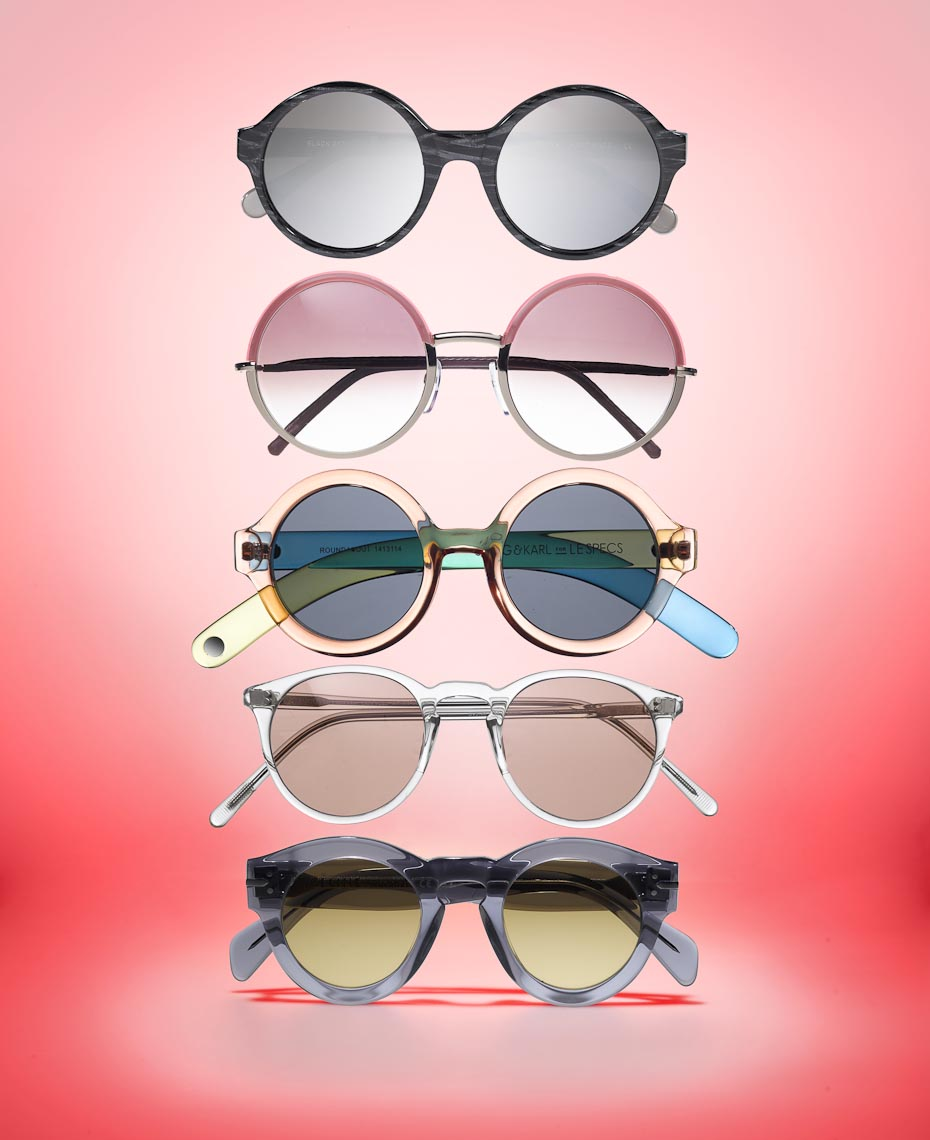 Accessories Still Life | Round Sunglasses on Color
