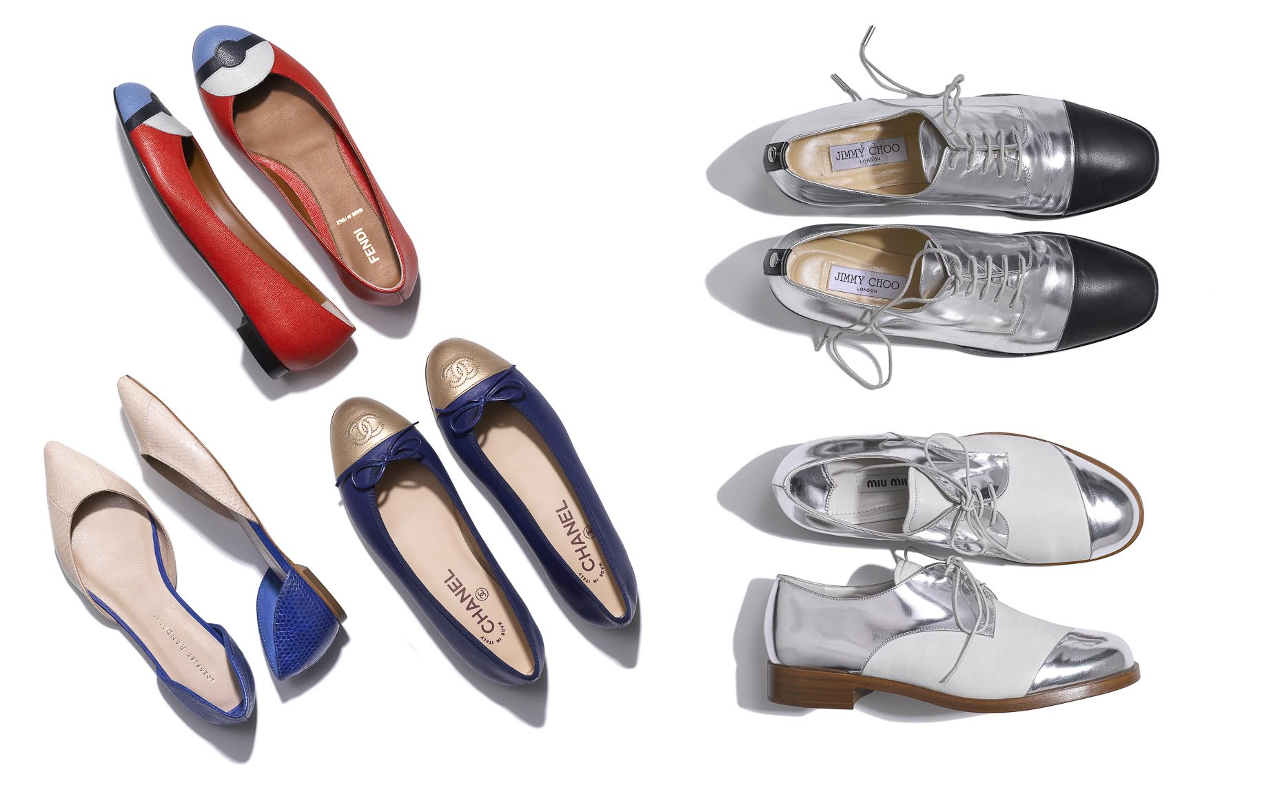 Apparel Still Life, Ballerina Flats and Metallic Oxfords on White