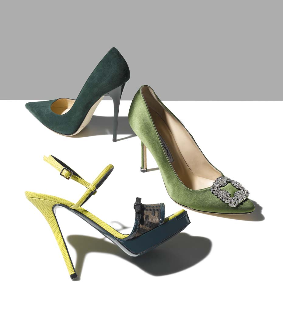 Accessories Still Life, Green High Heels