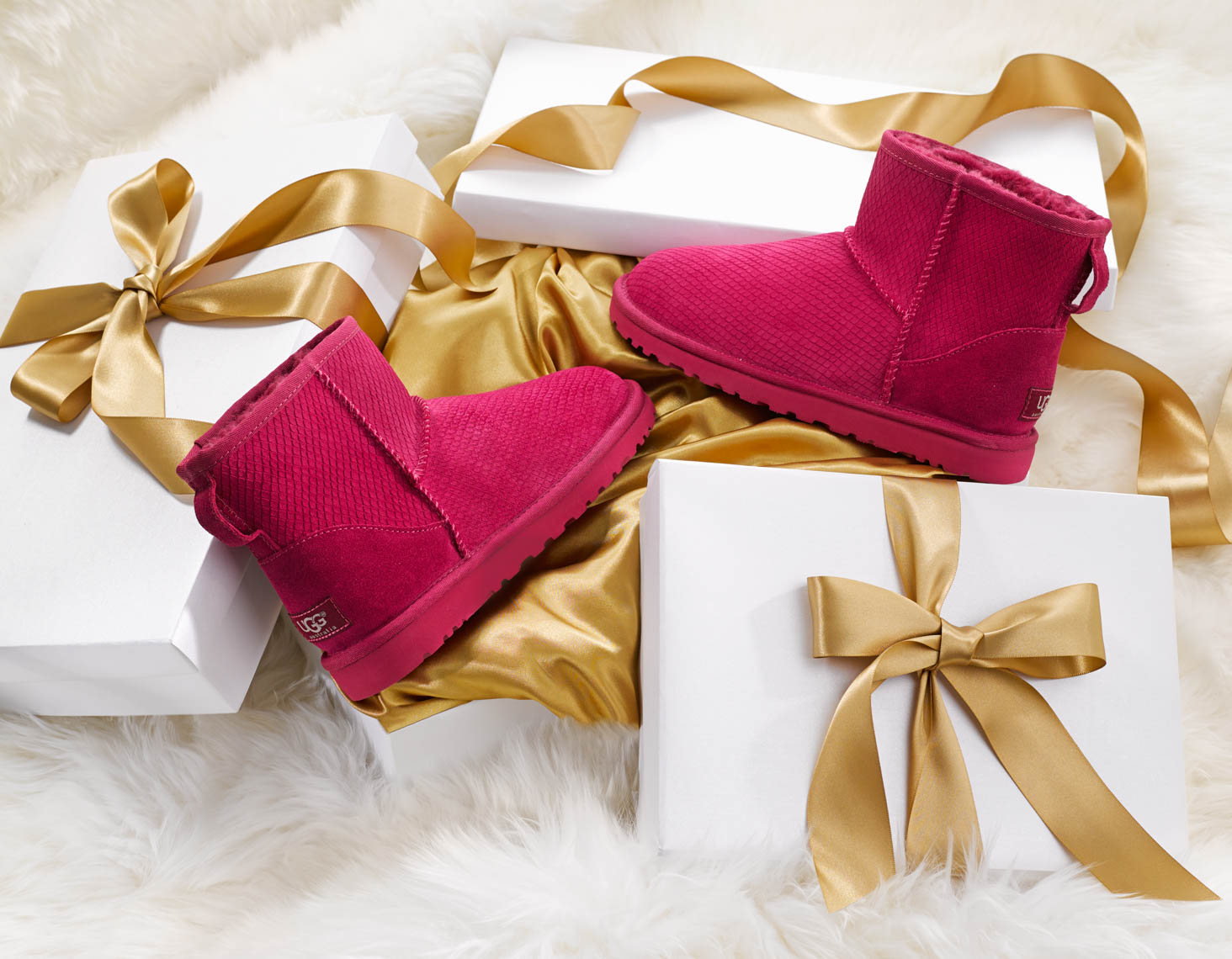 Apparel Still Life, Ugg Boots and Gift Boxes