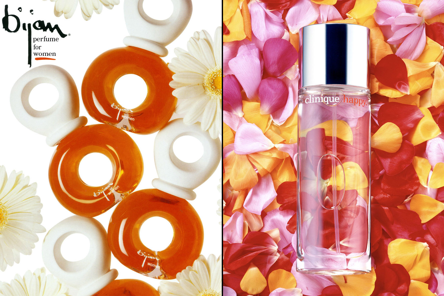 Cosmetics Still Life, Perfume by Bijan and Cinique with Flowers