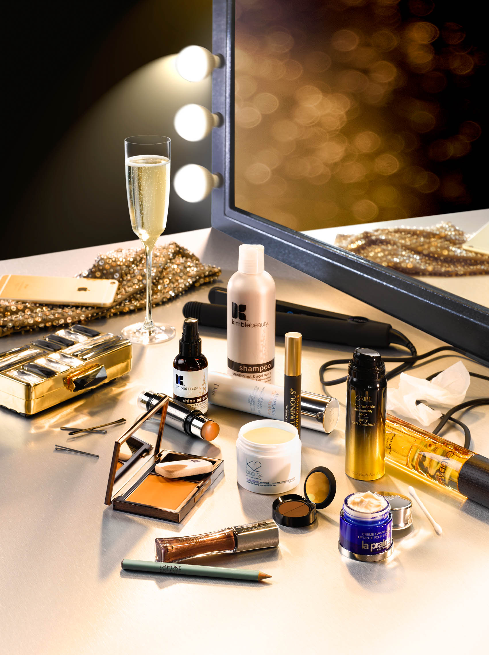 Beauty Products on Makeup Table With Mirror