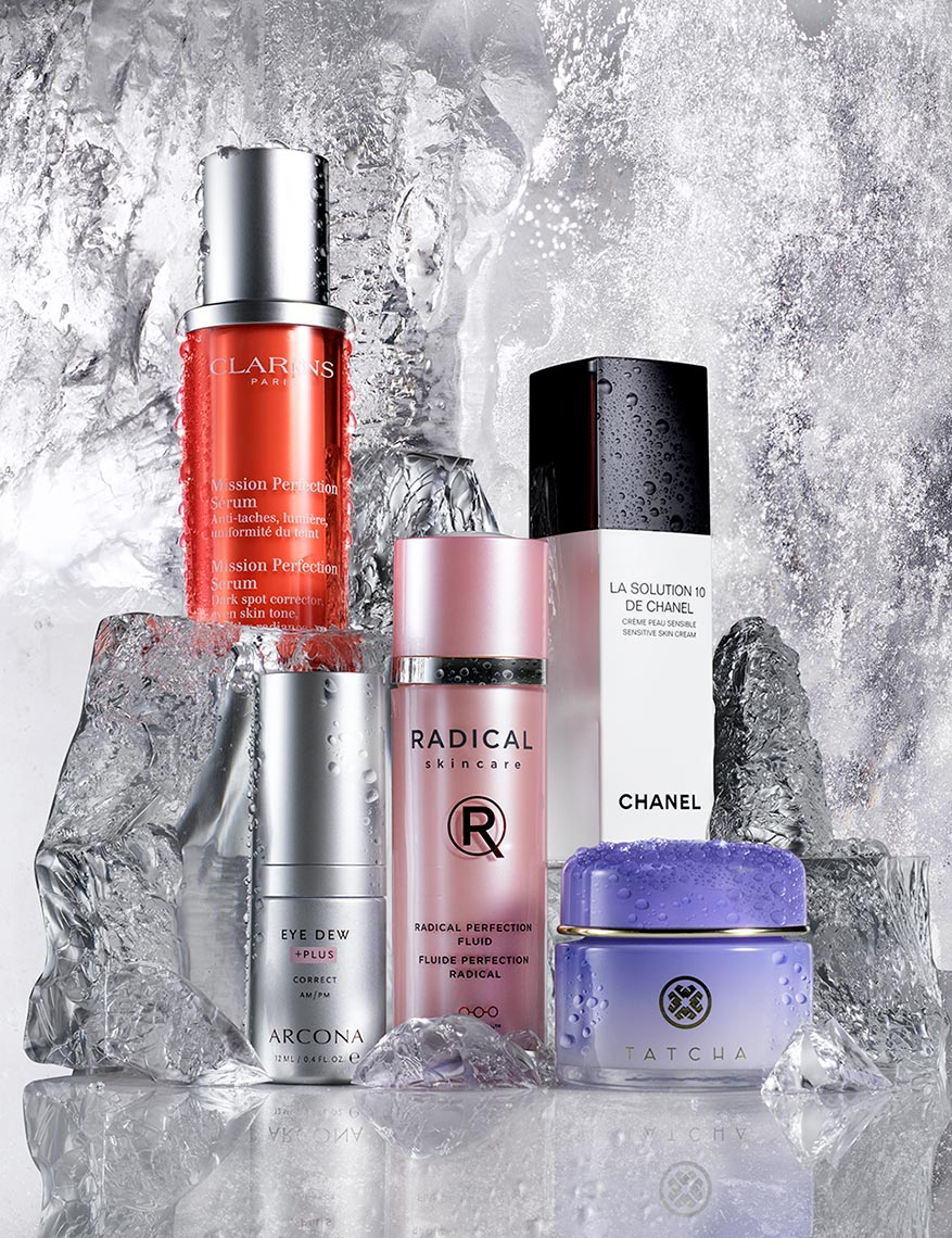 Anti Aging Products with Icy Background, Cosmetics Still Life