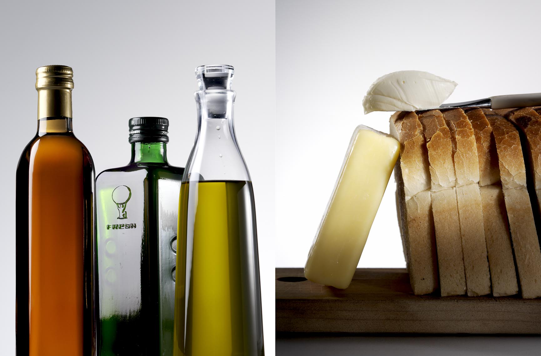 Food Still Life, Olive Oil And Sliced Bread