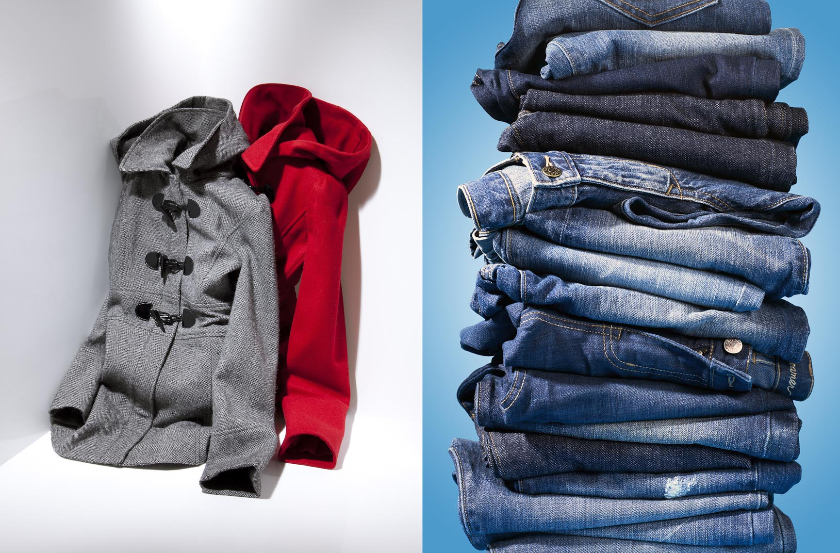 Apparel Still Life, Hooded Coats and Jeans Stack