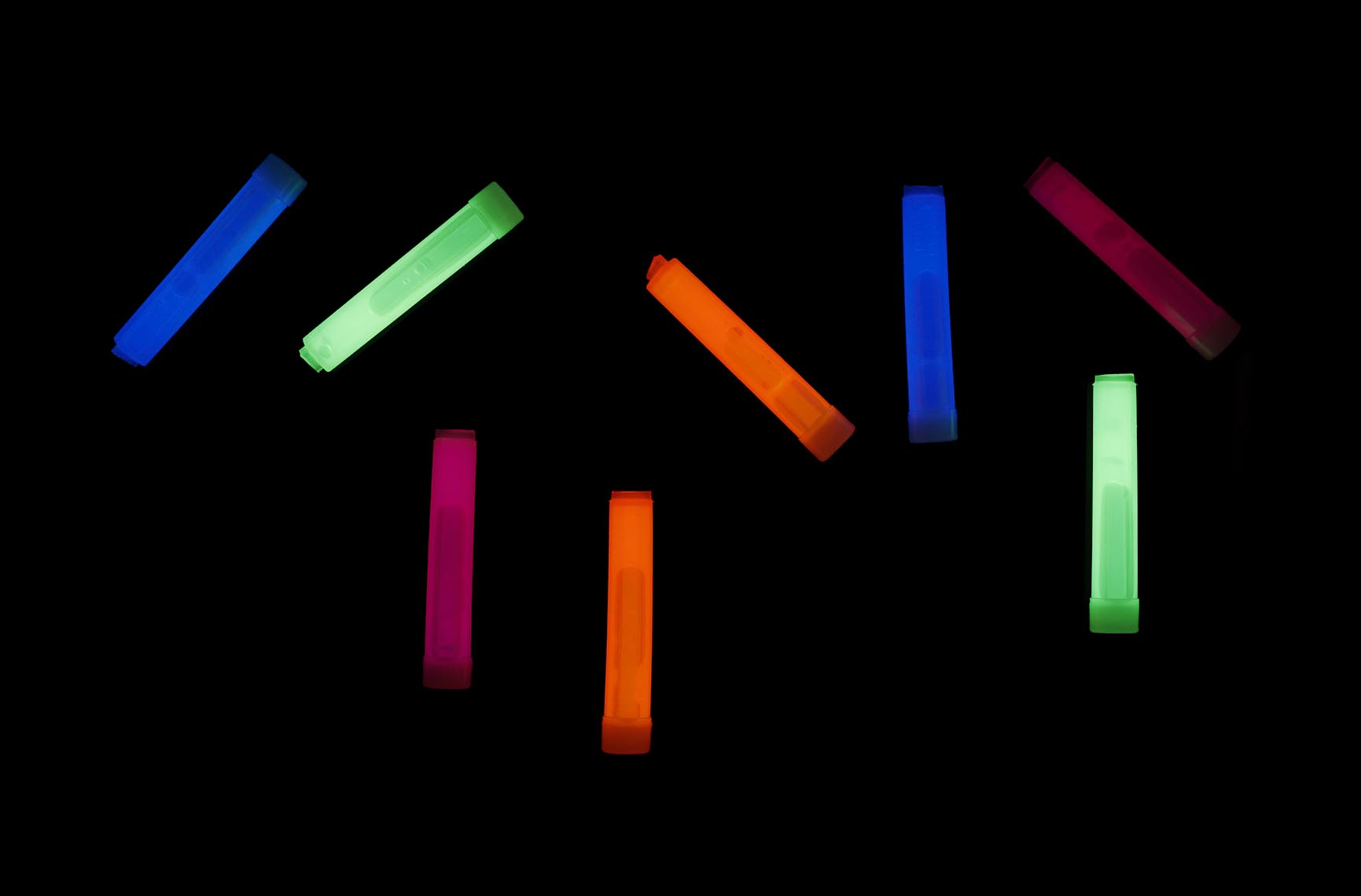 Product Still Life, Glow Sticks Composed on Black