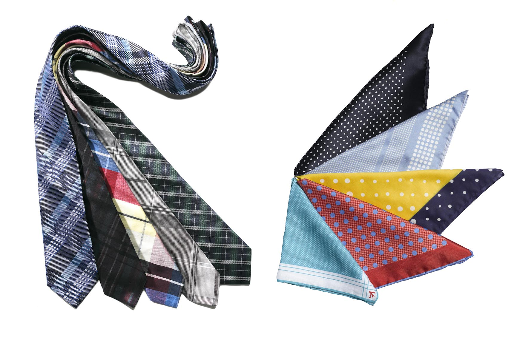 Accessories Still Life, Neckties and Pocket Squares on White