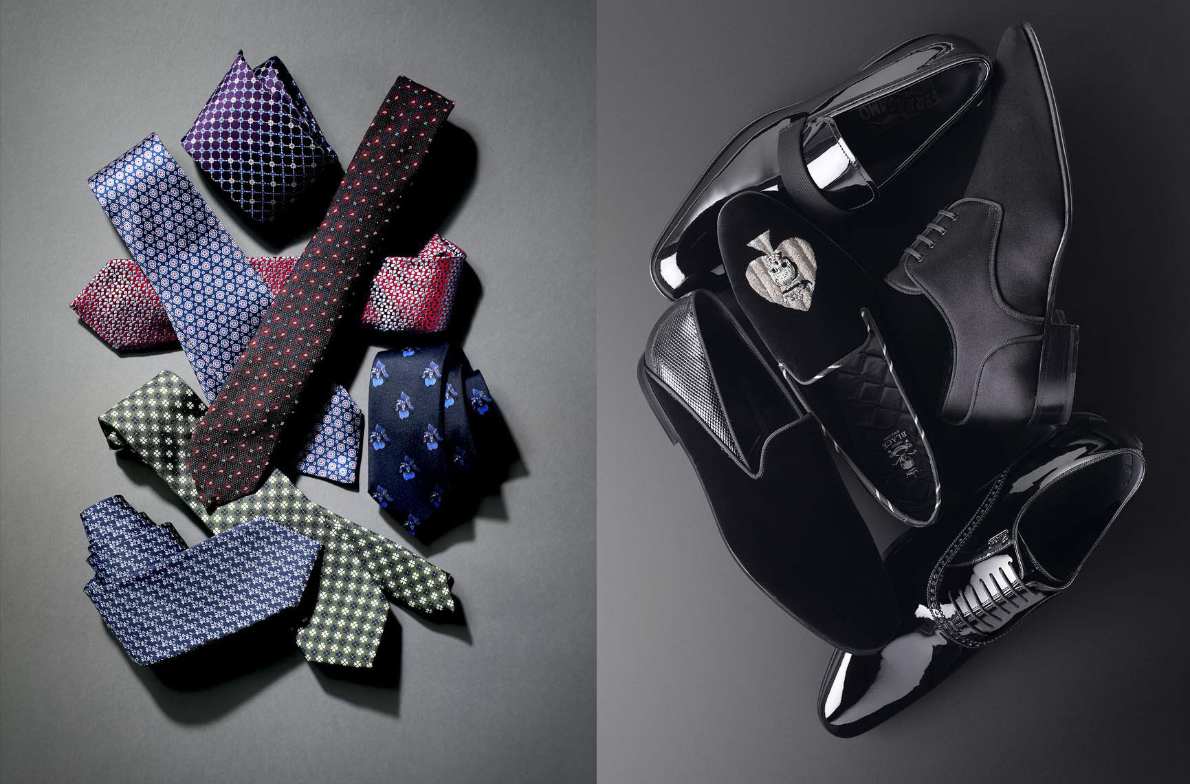 Accessories Still Life, Neckties and Tuxedo Shoes