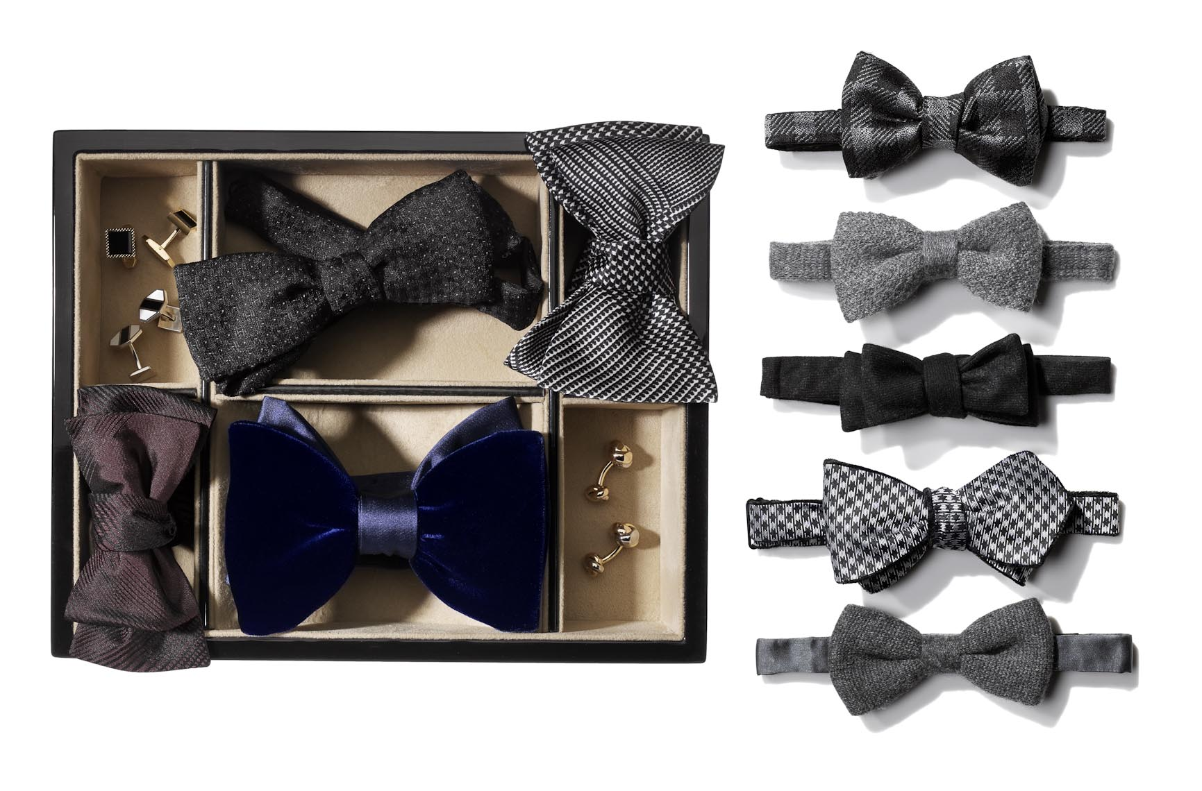 Accessories Still Life, Bow Ties on White