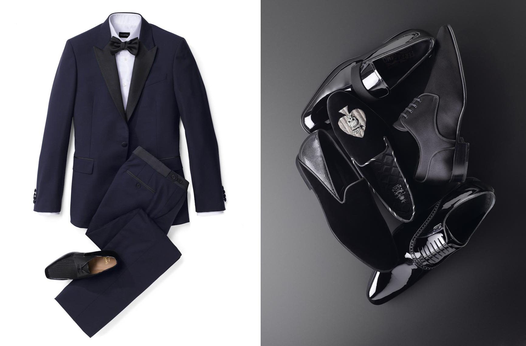 Apparel Still Life, Tuxedo Suit and Shoes Style Guide