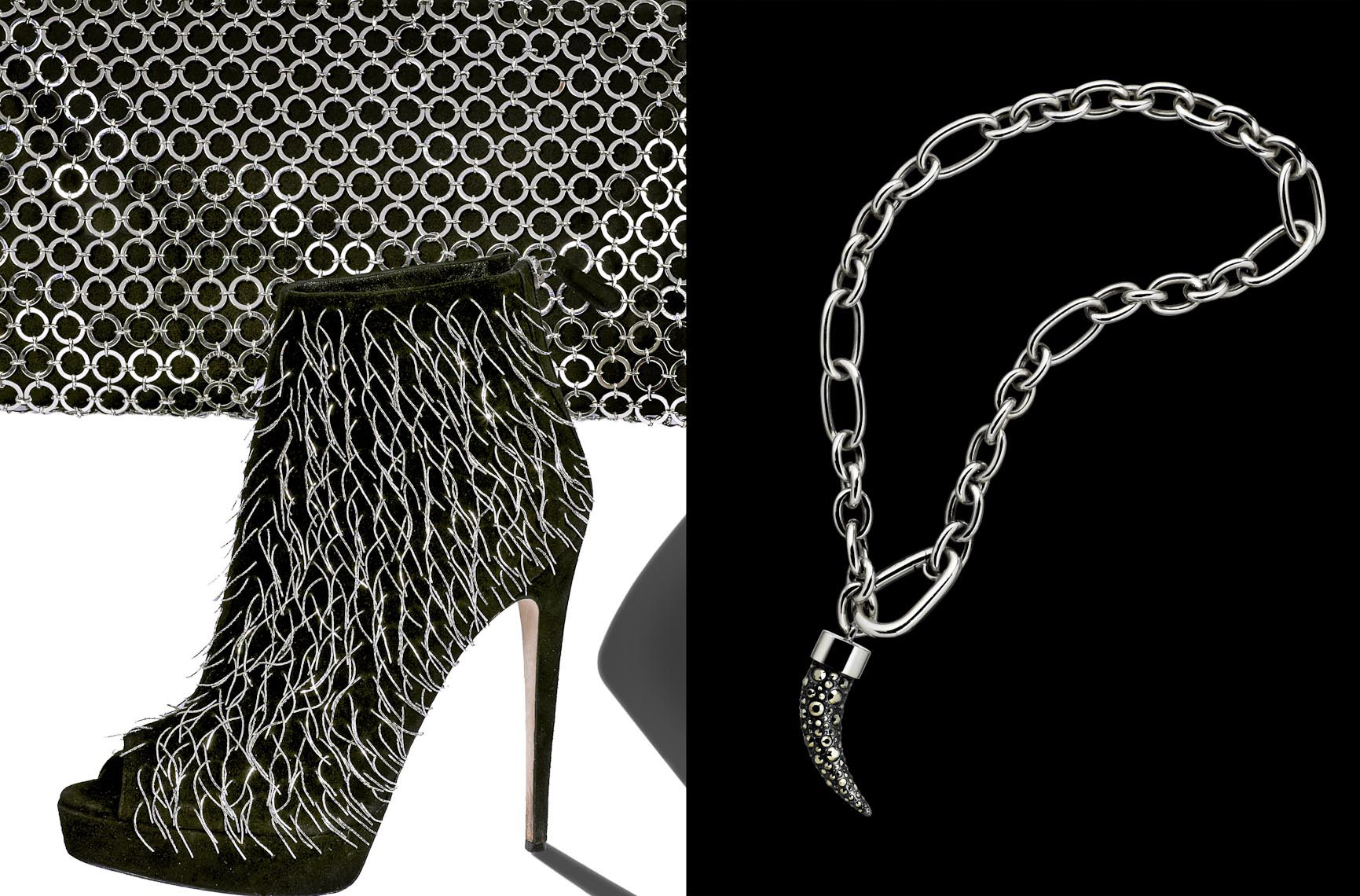 Accessories Still Life, Ankle Boot and Necklace