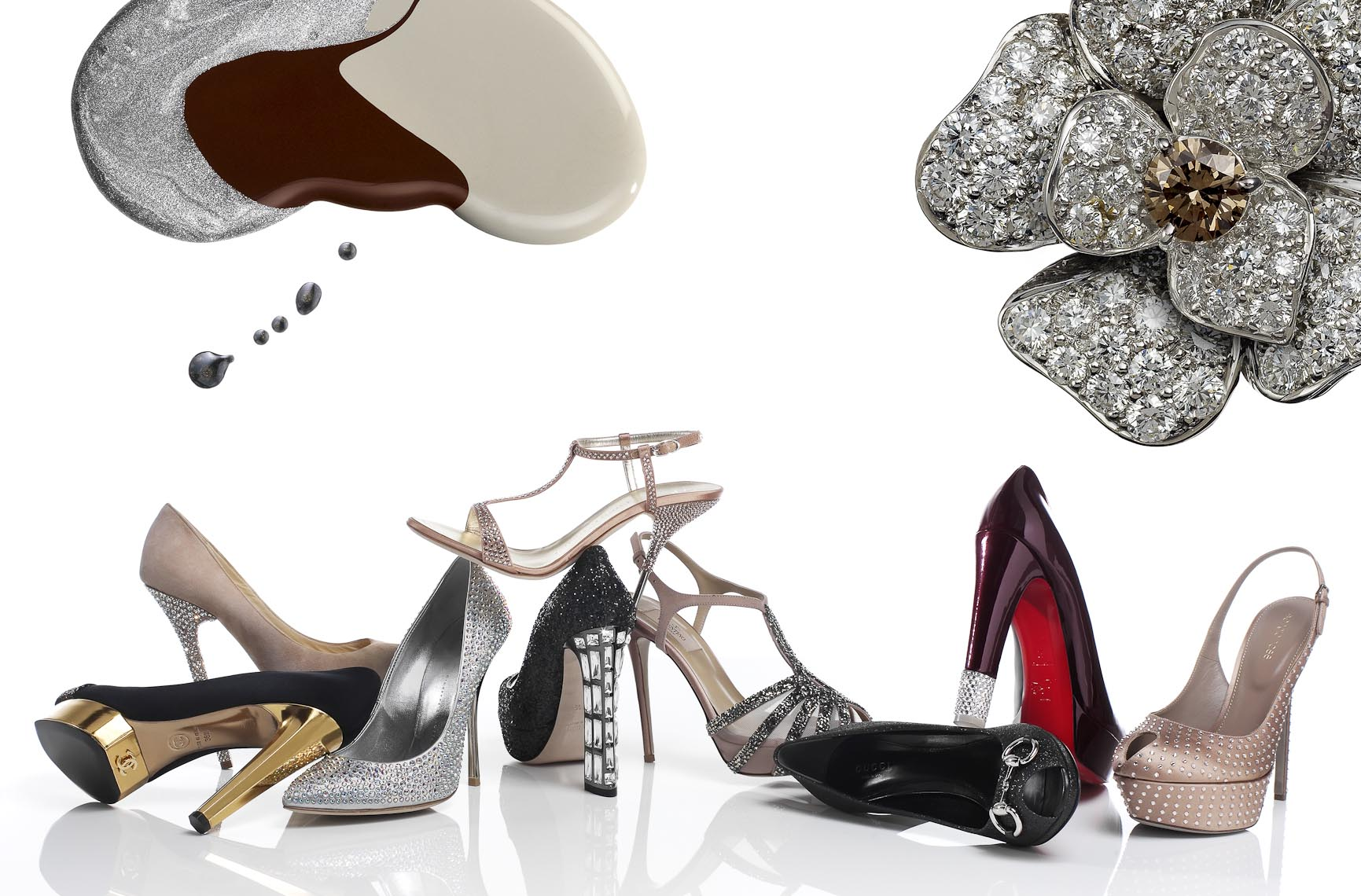 Accessories Still Life, High Heels on White