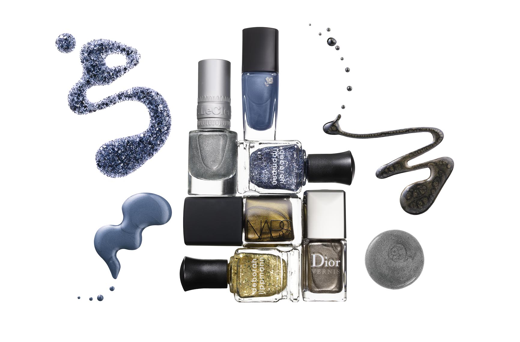 Cosmetics, Nailpolish Product Shot and Spills of Metallic Nail Lacquer - Mike Lorrig
