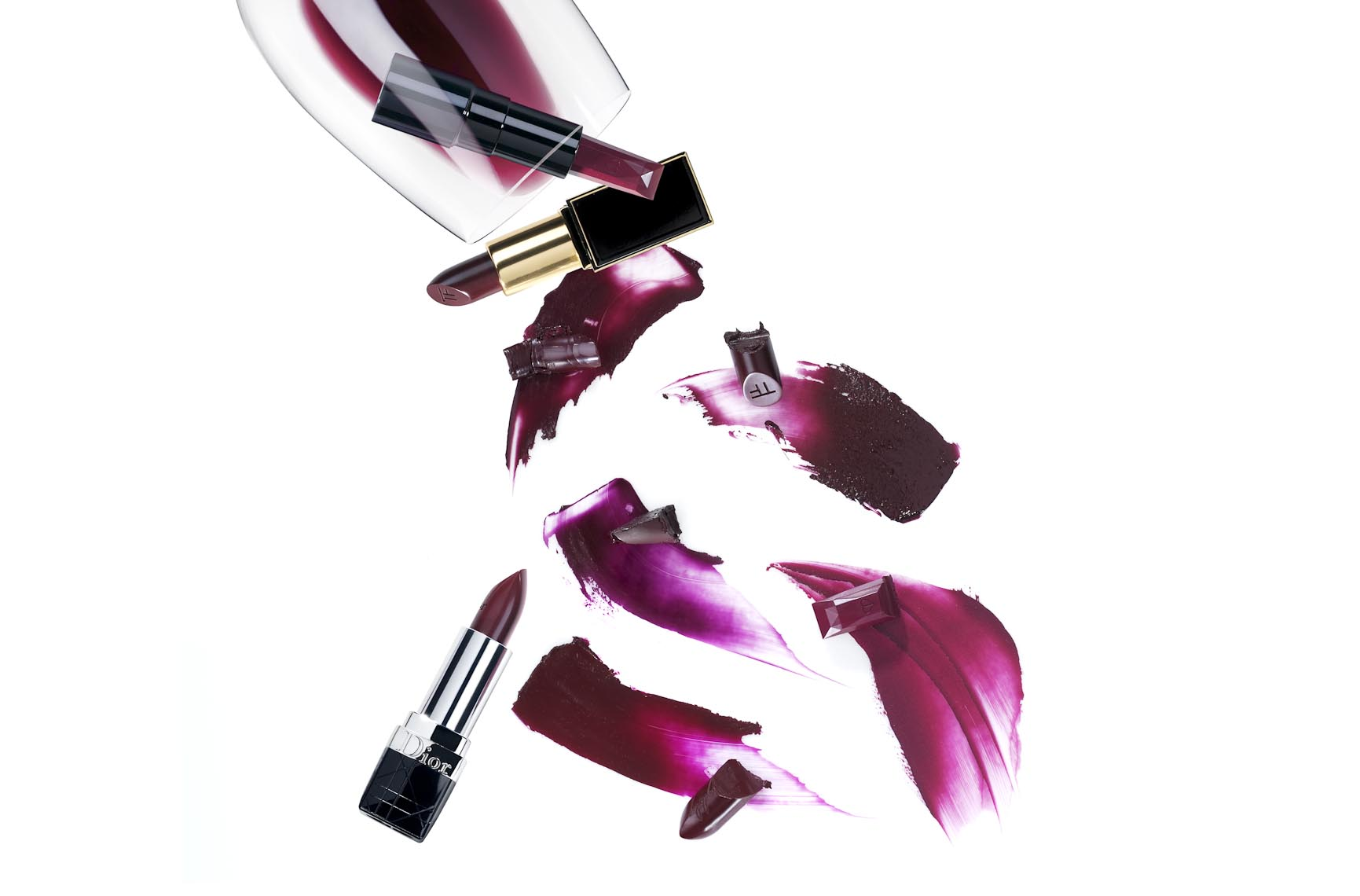 Cosmetics, Burgundy Color Lipsticks and Swooshes - Mike Lorrig