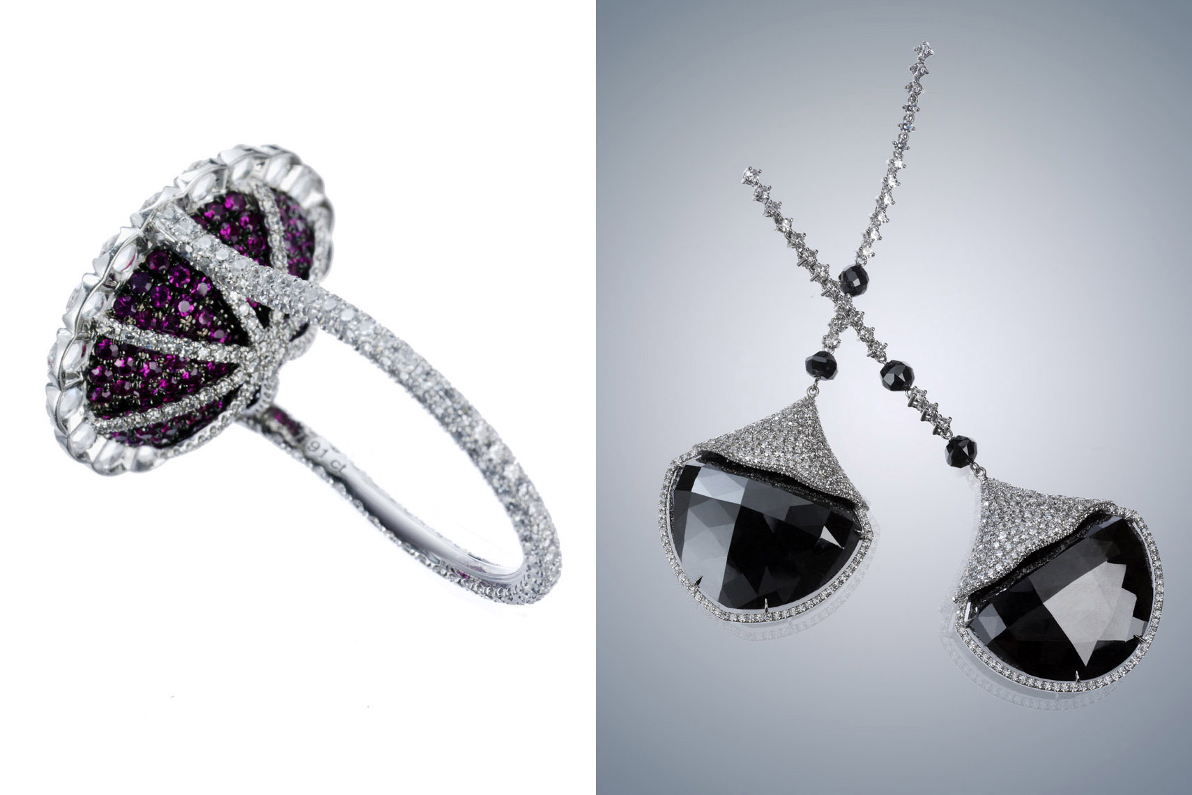 Jewelry Still Life, Black Diamond Earrings and Diamond Ring