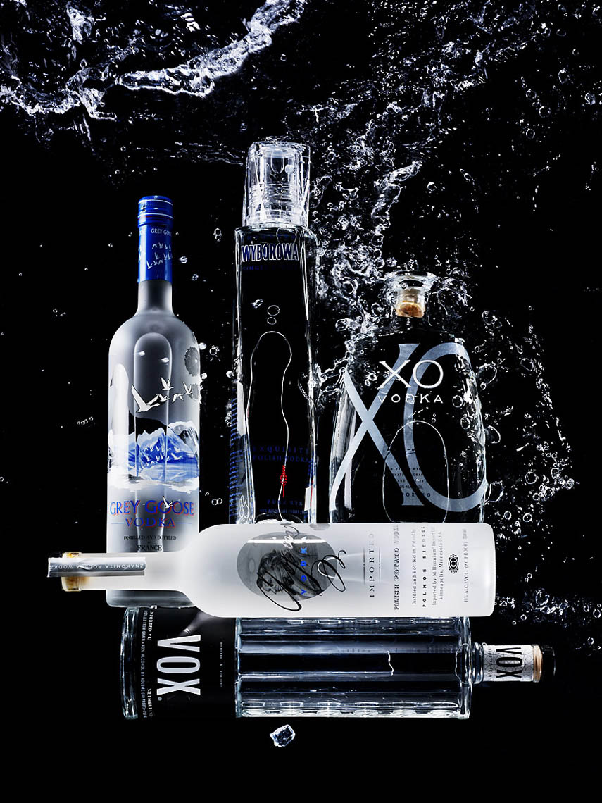 Beverage Still Life, Vodka Bottles and Splashes of Water