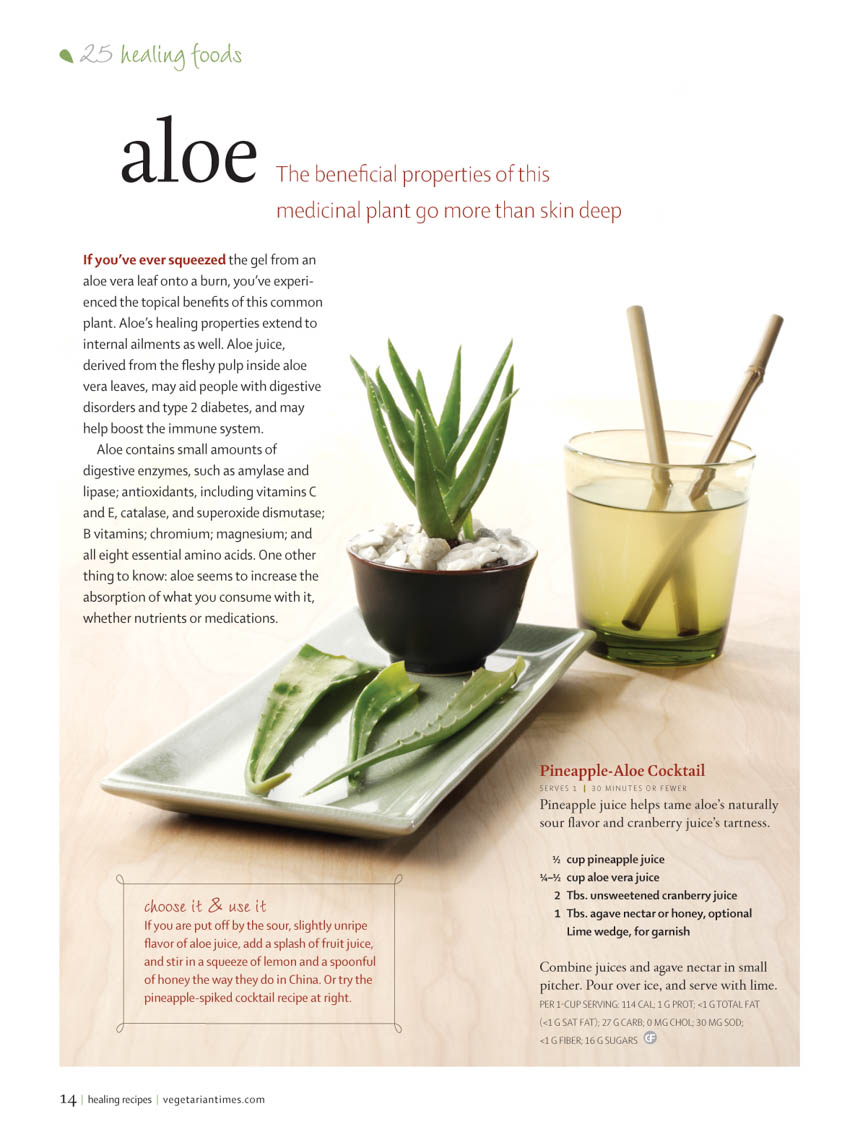 Food Still Life, Aloe Juice And Plant On Wood Surface