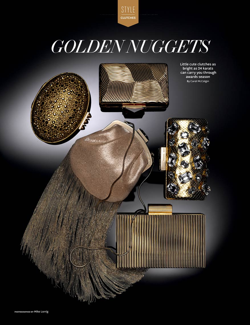Accessories Still Life, Glamorous Golden Clutches