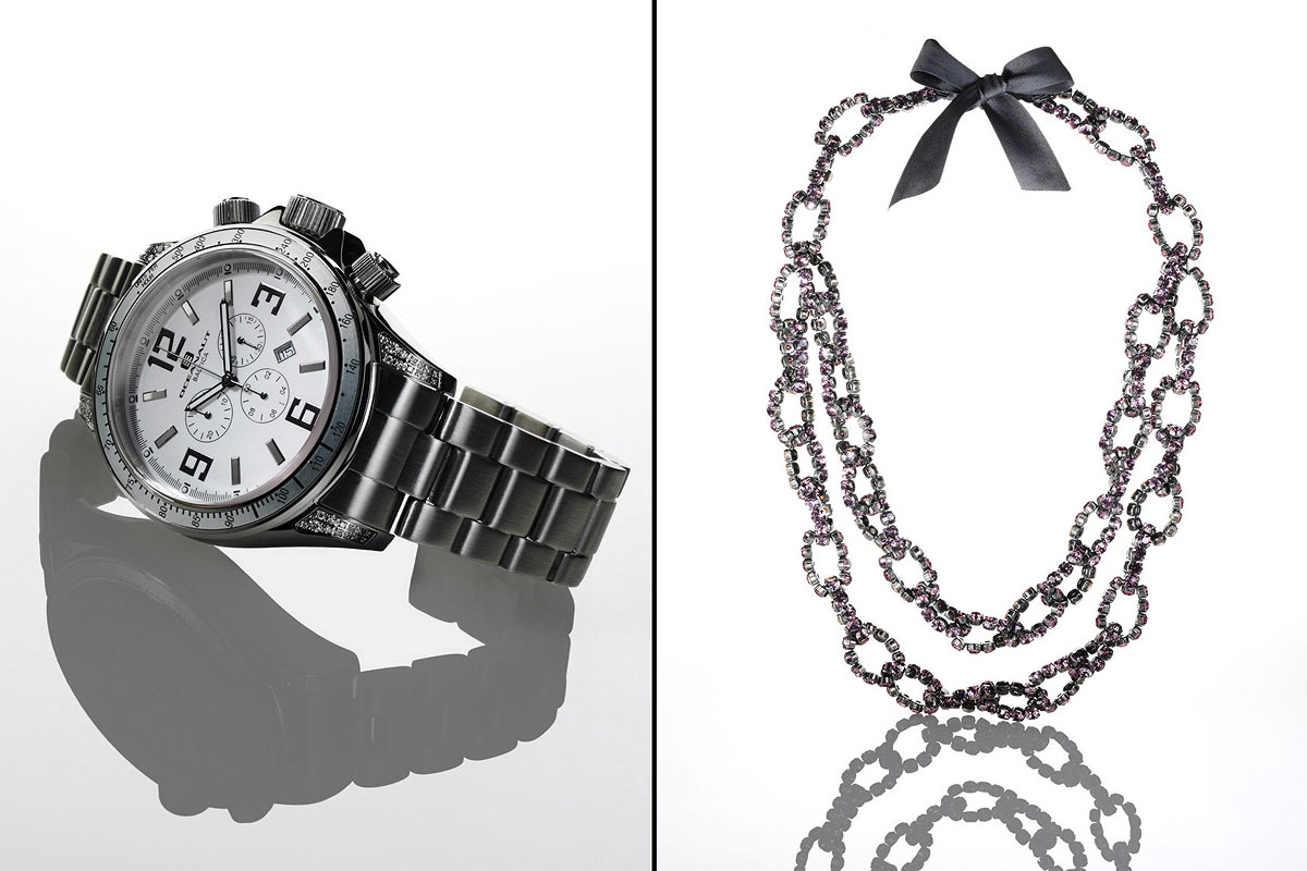 Jewelry Still Life, Watch and Necklace