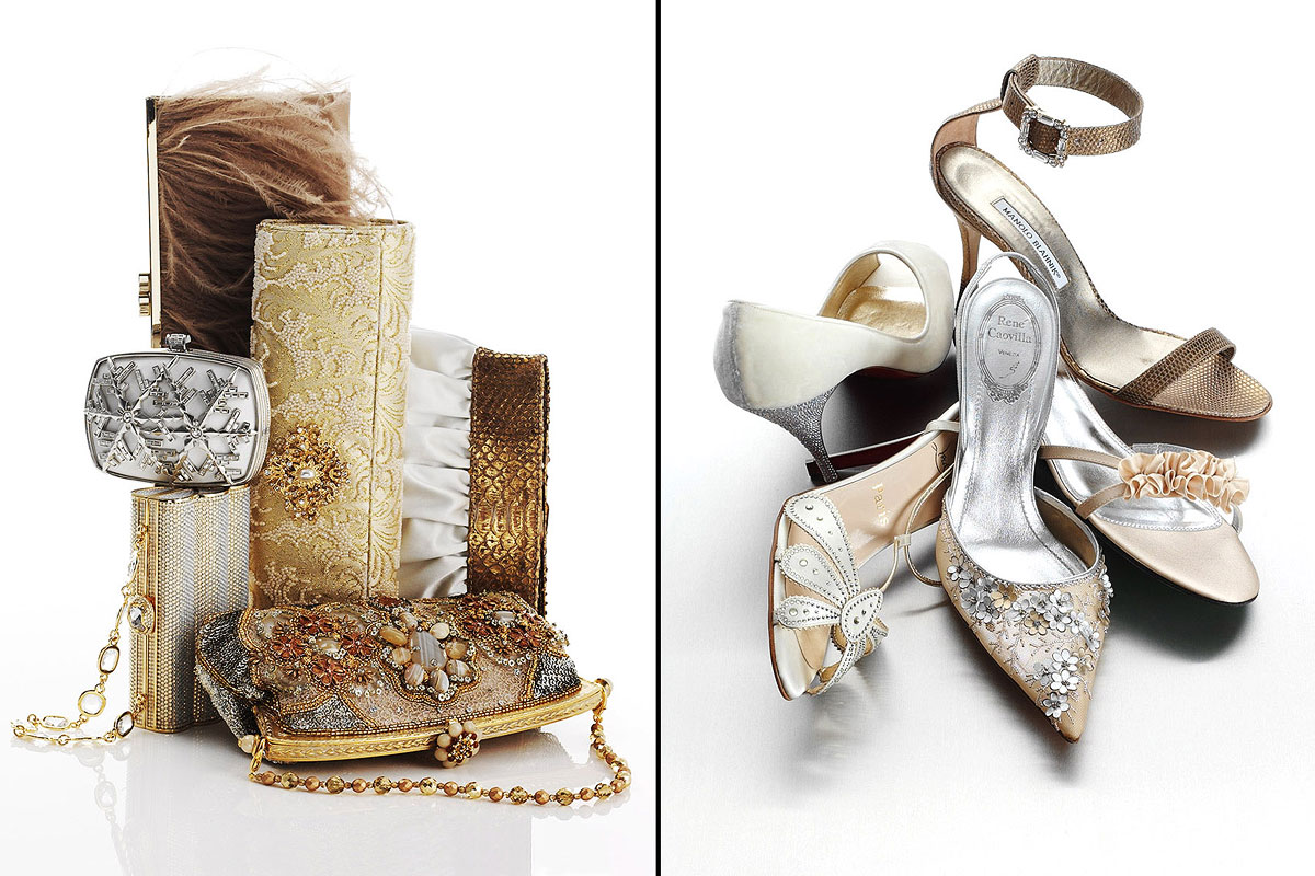 Accessories Still Life, Bridal Shoes and Clutches