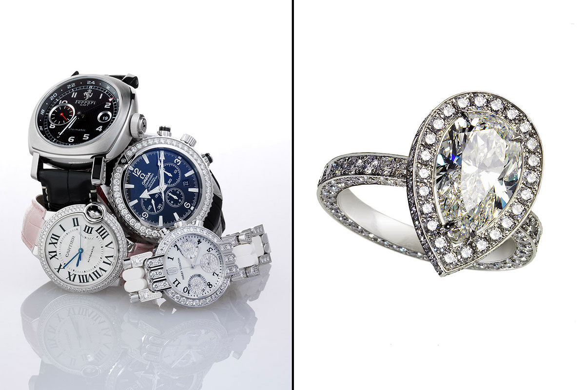 Jewelry Still Life, Watches and Diamond Ring