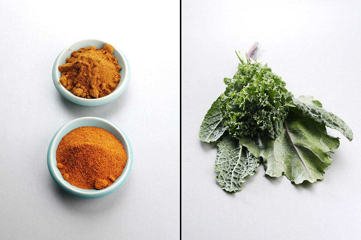 Food Still Life, Curry Powder And Kale